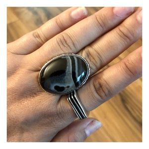 Black Botswana Agate 925 Silver Ring, Size 8.75